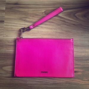 Fossil Pebble Leather Wristlet ~ Pink
